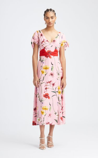 Floral Belted Midi Dress