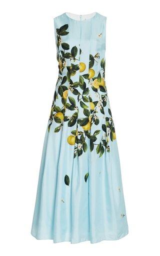 Pleated Lemon-Print Silk Midi Dress