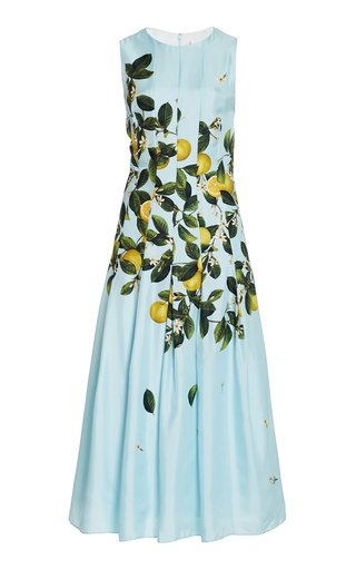Pleated Lemon-Print Silk Midi Dress