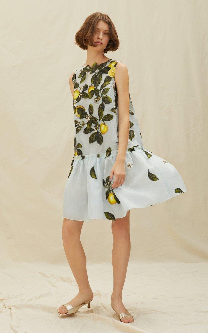 Lemon Print Silk-Blend Peplum Hem Dress