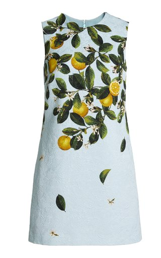 Lemon-Print Silk-Blend Jacquard Mini Dress