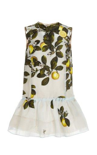 Lemon-Print Silk-Blend Jacquard Mini Dress