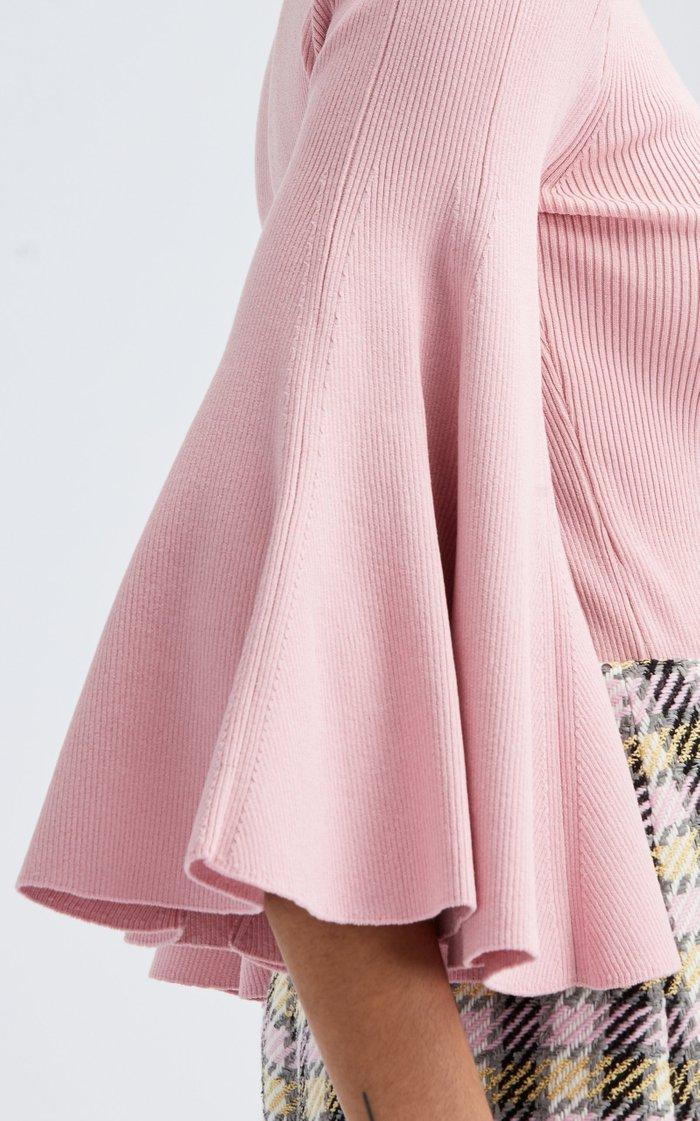 Flared Sleeve Silk-Blend Mockneck Top