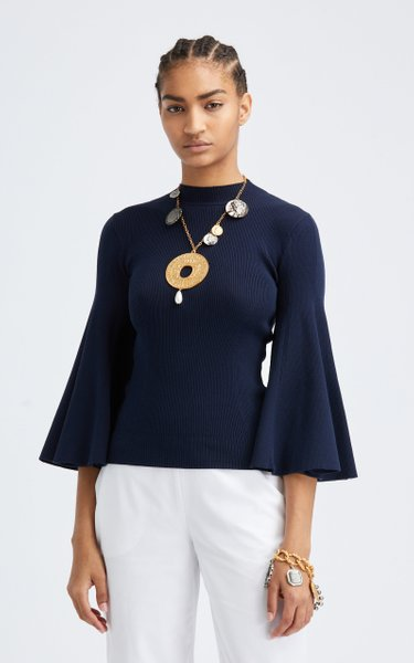 Flared Sleeve Silk-Blend Mockneck Top