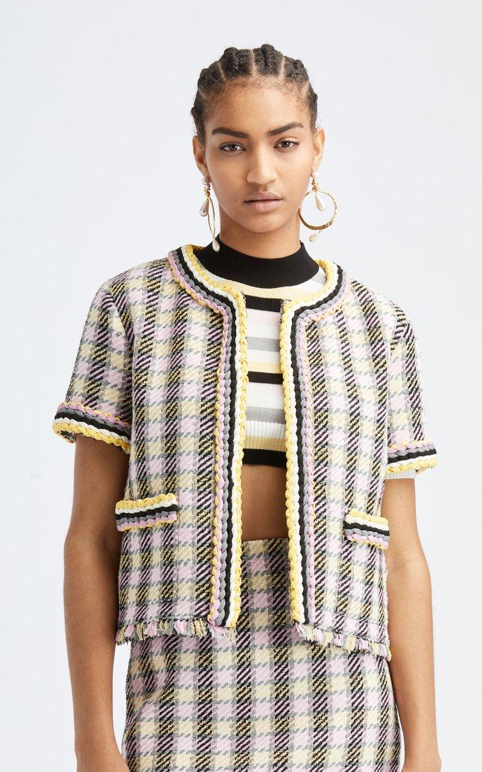 Short Sleeved Two Pocket Tweed Braided Trim Jacket