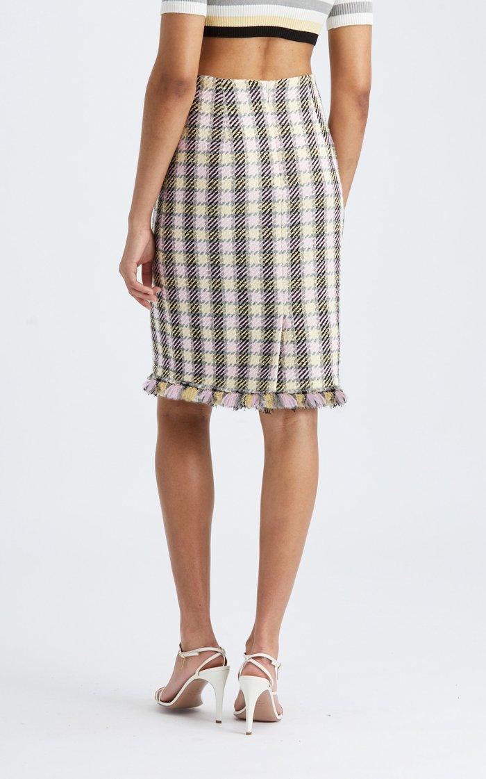 High-Rise Tweed Pencil Skirt