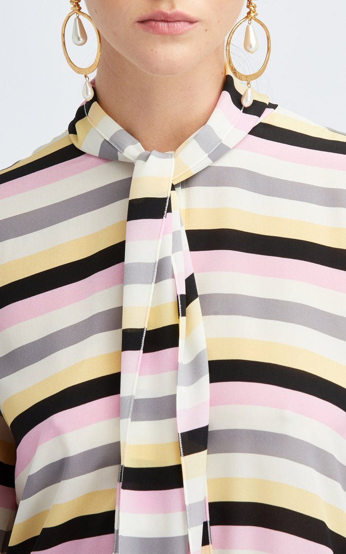 Striped Asymmetric Silk Blouse