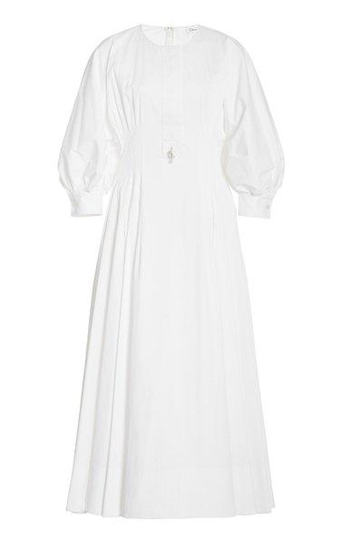 Puff-Sleeve Pleated Stretch-Cotton Midi Dress