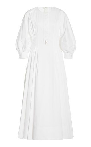 Puff-Sleeve Pleated Stretch-Cotton Midi Dress