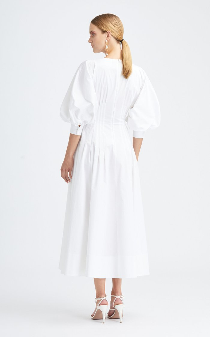 Short Sleeved Cotton-Blend Midi Dress