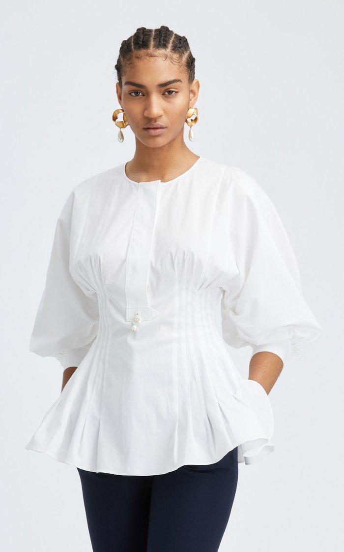 Puff Sleeve Cotton-Blend Blouse