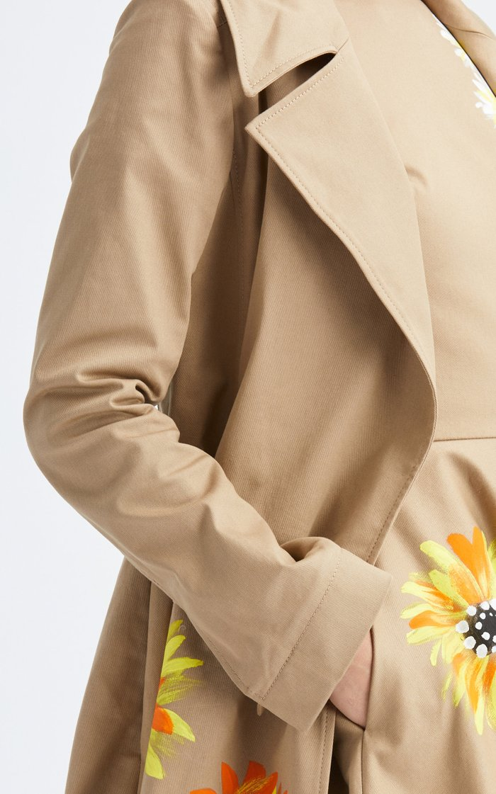 Hand-Painted Floral Cotton-Blend Trench Coat