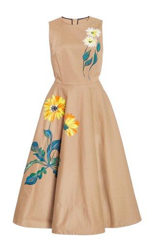 Hand-Painted Floral Cotton Midi Dress