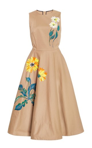 Hand-Painted Floral Cotton Midi Dress