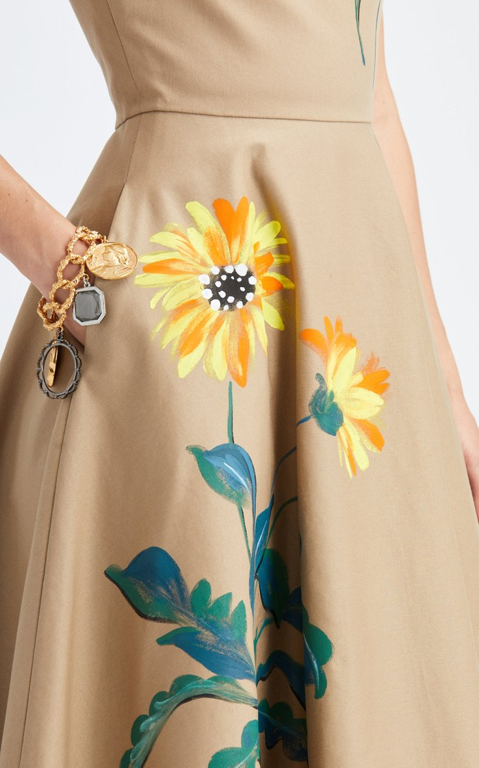 Hand-Painted Floral Midi Dress