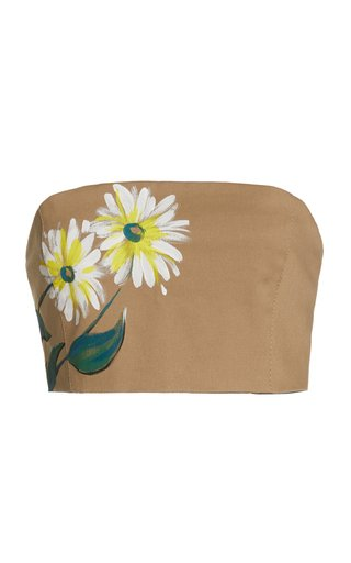 Hand-Painted Cotton Strapless Crop Top