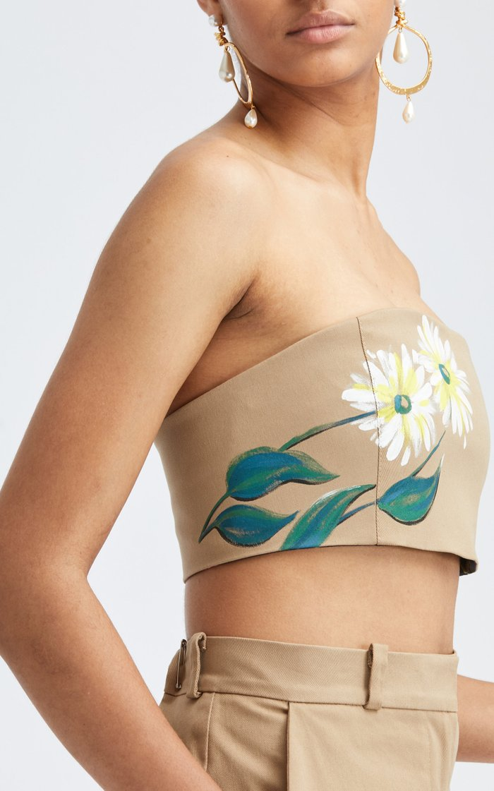 Strapless Cropped Hand-Painted Bandeau Top