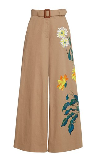 Hand-Painted Cotton Wide-Leg Trousers