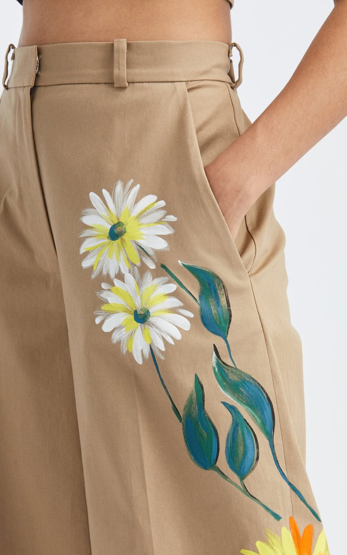 High-Rise Wide-Leg Hand-Painted Pant