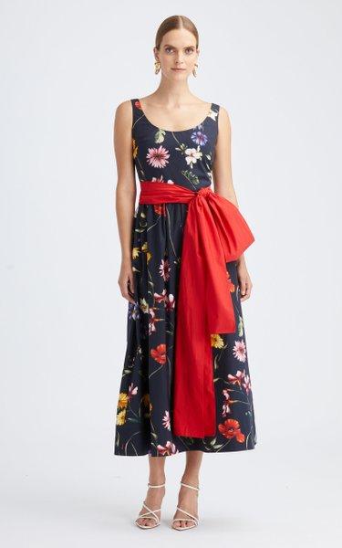 Floral Belted Cotton-Blend Midi Dress