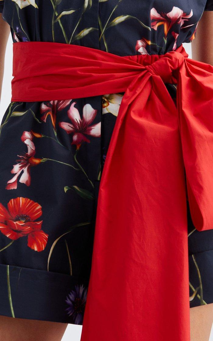 Floral Cotton-Blend Belted Romper
