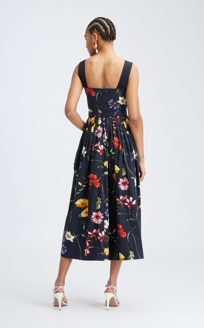 Floral Square Neckline Cotton-Blend Dress