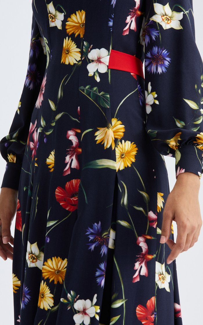Long Sleeved Pleated Floral Midi Dress