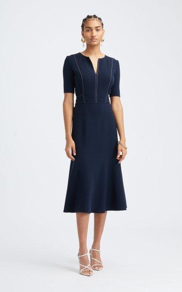 Tie-Back Contrast Stitched Wool-Blend Midi Dress