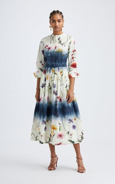 Floral Tie-Dye Cotton-Blend Midi Dress