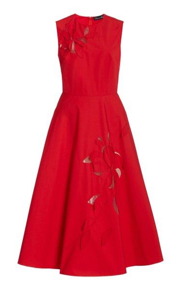 Sleeveless Cotton-Blend Floral Cutout Dress