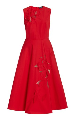 Laser-Cut Cotton Midi Dress