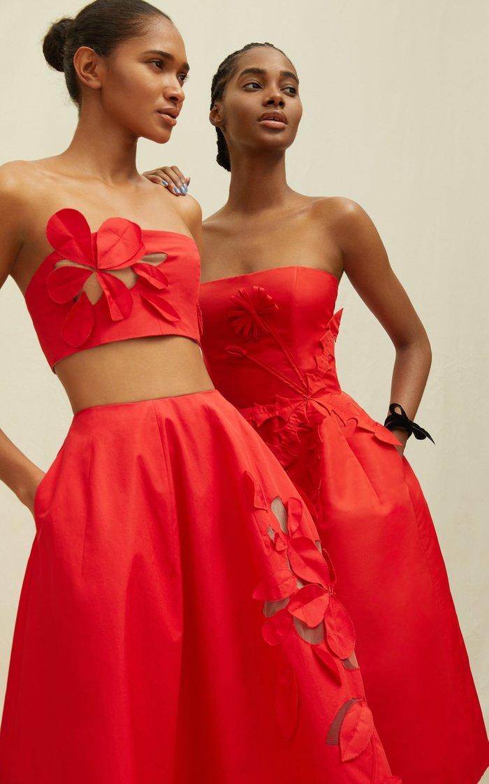 Mid-Rise A-Line Cotton-Blend Laser-Cut Skirt