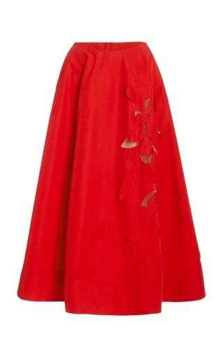 Laser-Cut Cotton Midi Skirt