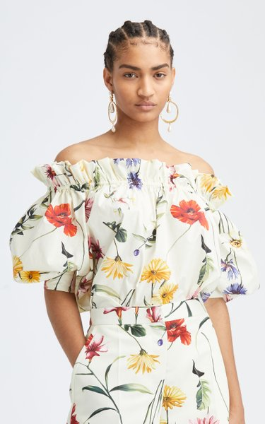 Floral Off-The-Shoulder Cotton-Blend Blouse