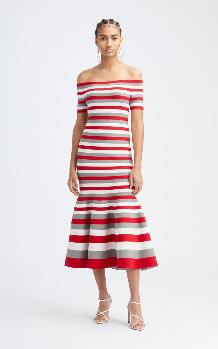 Striped Off-The-Shoulder Knit Midi Dress