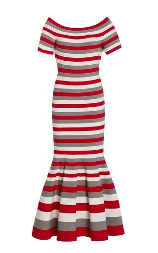 Striped Off-The-Shoulder Knit Midi Dress