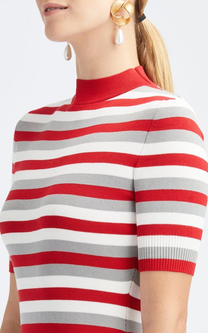 Mock Neckline Cotton-Silk Mini Dress