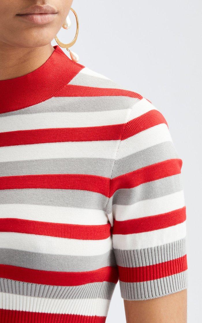 Cropped Mock Neckline Cotton-Silk Pullover