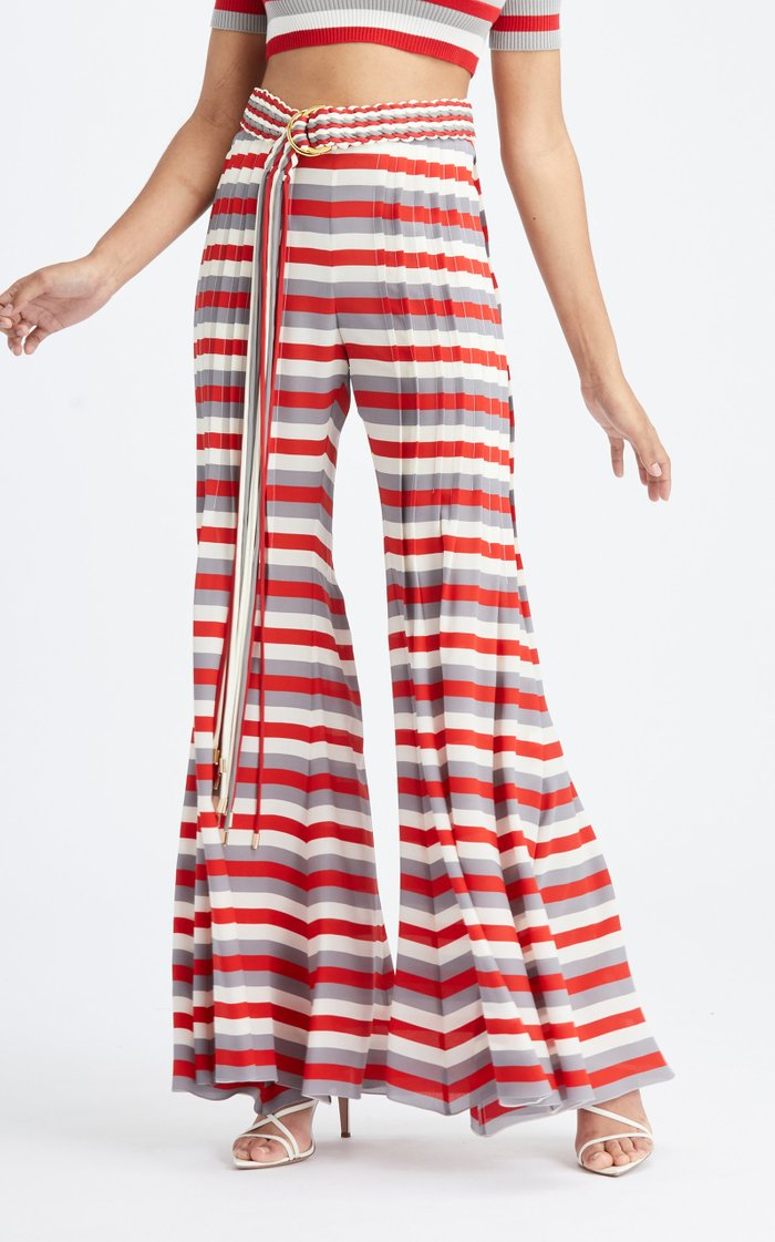 Mid-Rise Pintuck Flared Silk Pant