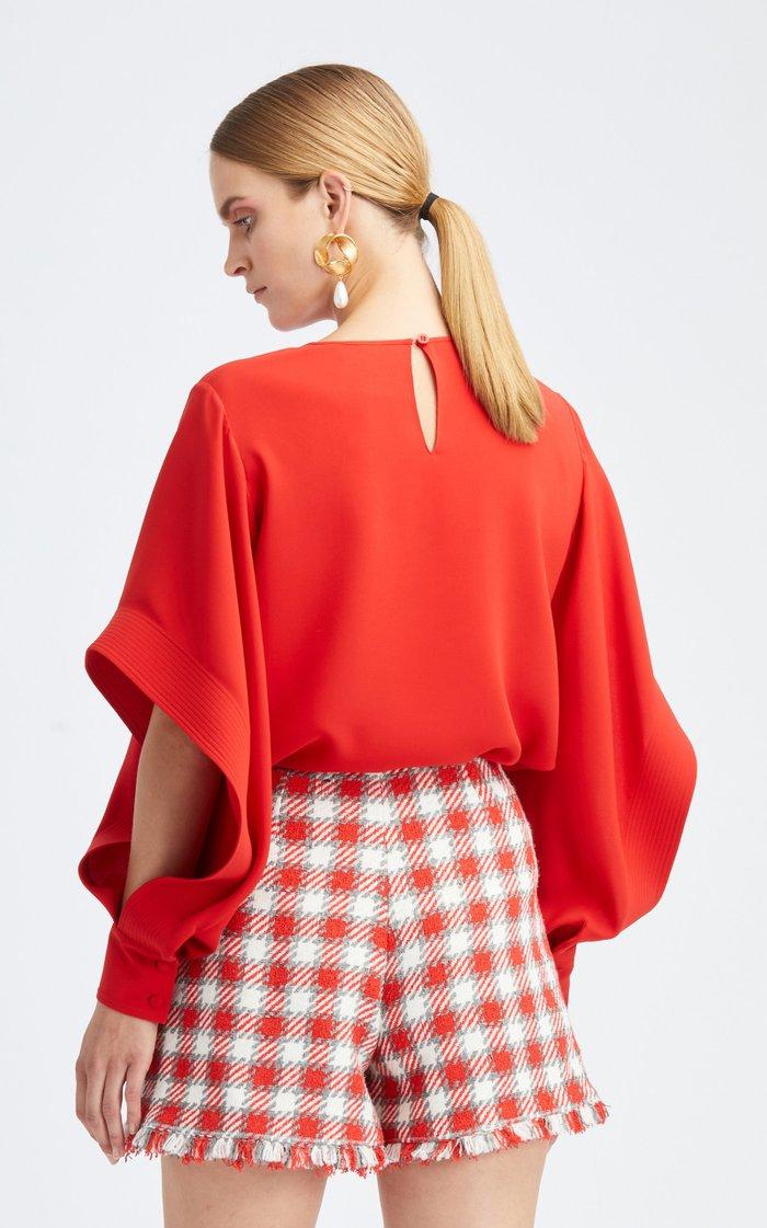 Cascade Long Sleeve Silk-Blend Blouse