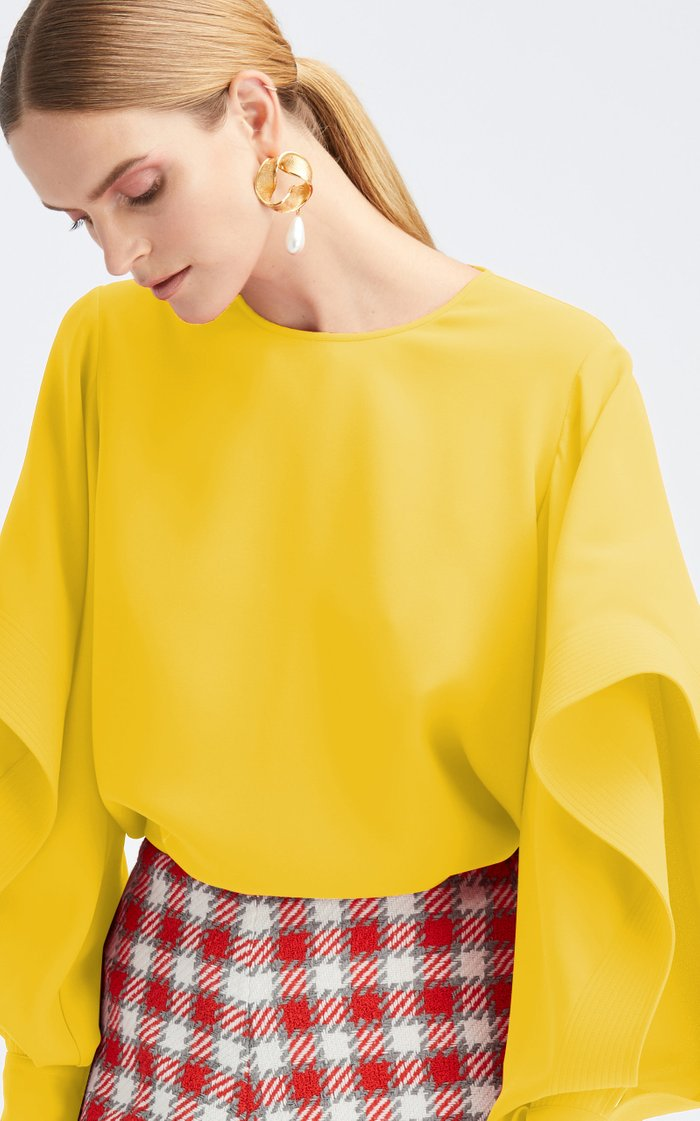 Cascade Long Sleeve Silk-Blend Blouse