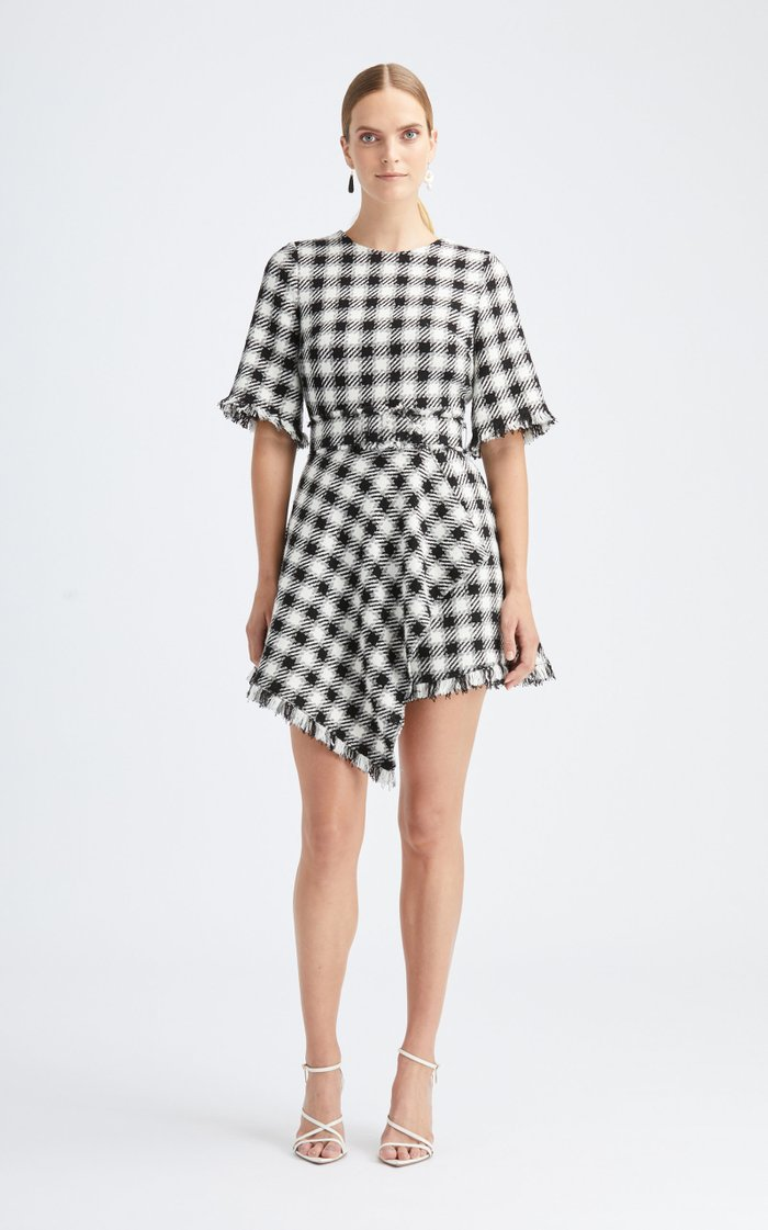 Draped Plaid Mini Dress