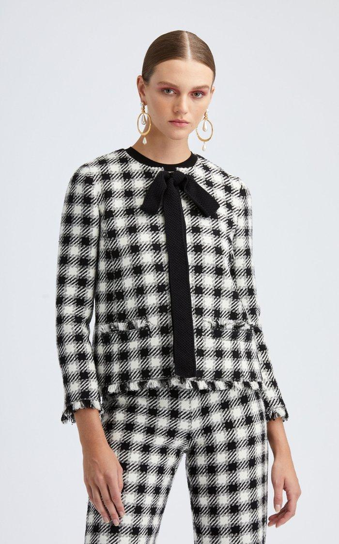 Tie-Neck Plaid Jacket