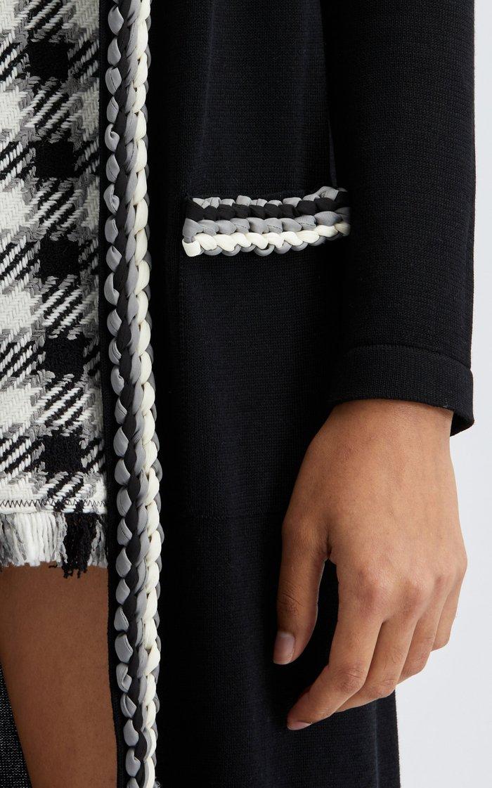 Elongated Wool-Blend Braided Trim Cardigan