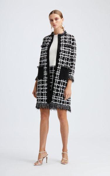 Long Sleeved Fringe Hem Knit Coat