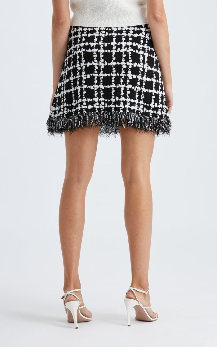 Knit Fringe Hem Mini Skirt