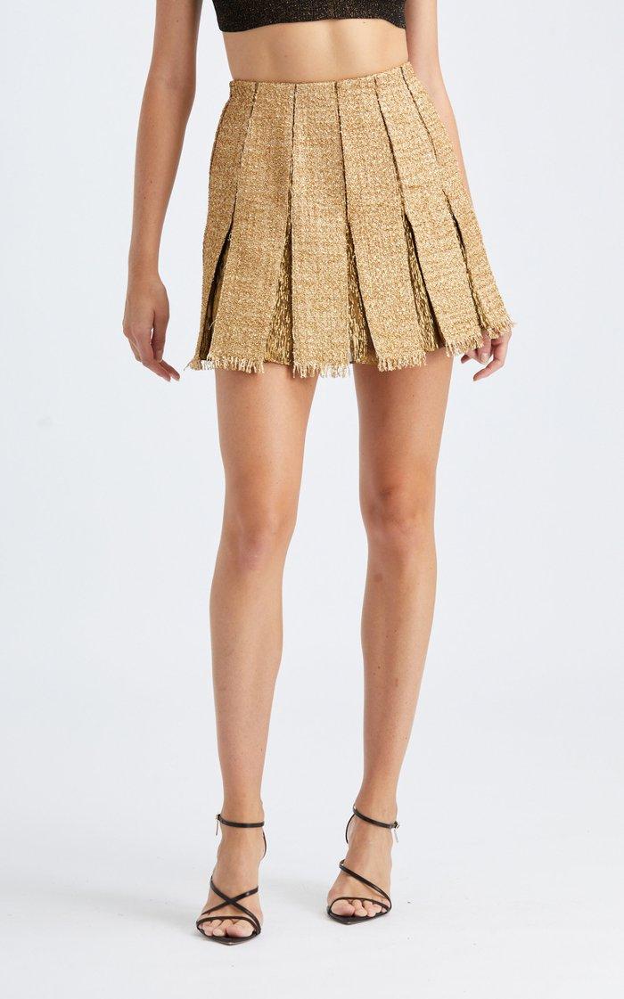 Mid-Rise Pleated Metallic Mini Skirt