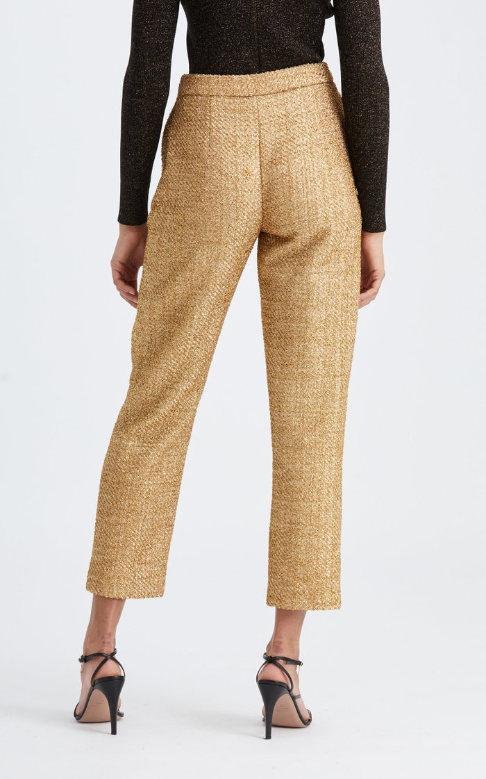 High-Rise Straight-Leg Metallic Pant