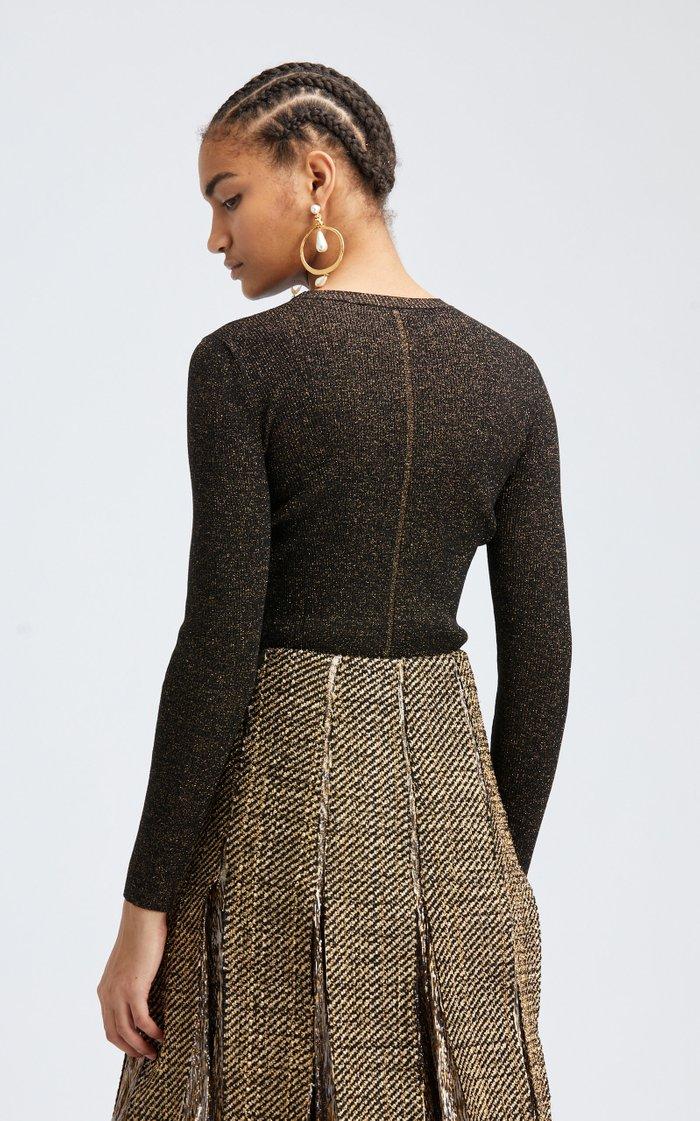 Long Sleeved Lurex Silk-Blend Top