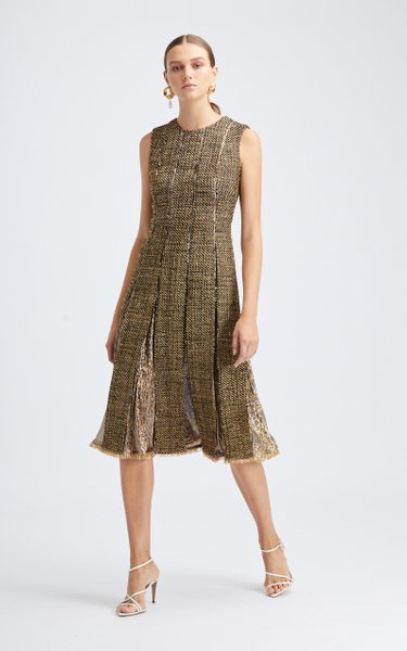 Sleeveless Pleated Metallic Midi Dress